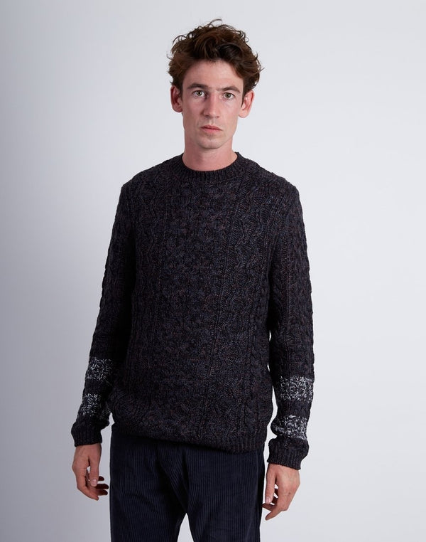 The Idle Man - Cable Knit Jumper Blue