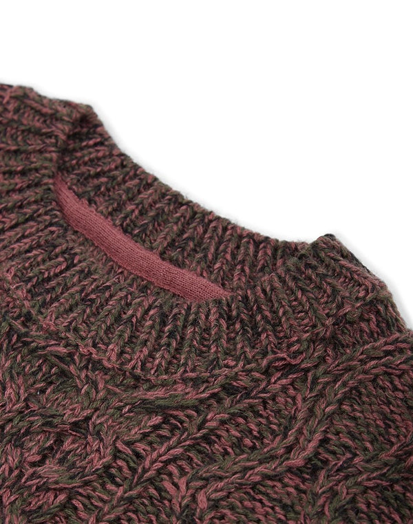The Idle Man - Cable Knit Jumper Rust