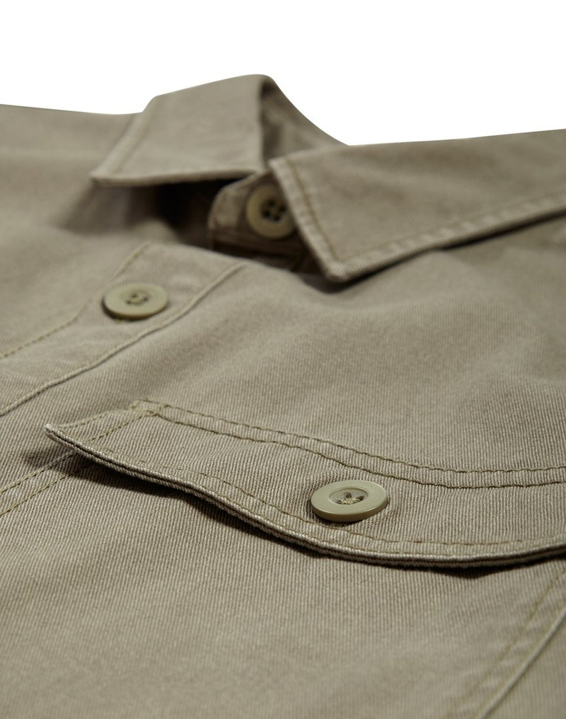 The Idle Man - Button Overshirt Khaki