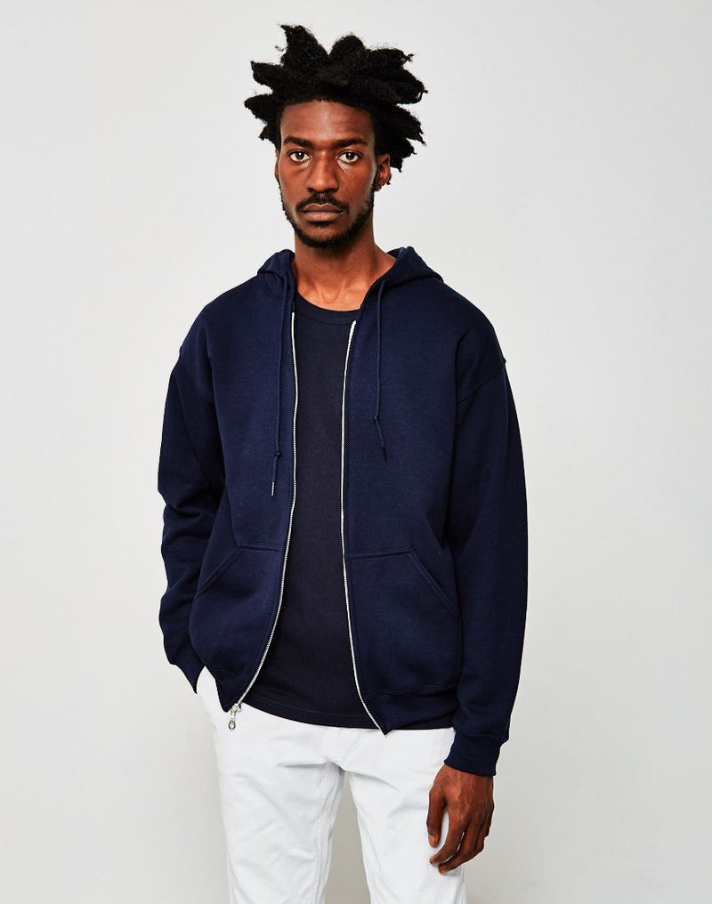 The Idle Man - Classic Zip Through Hoodie Navy
