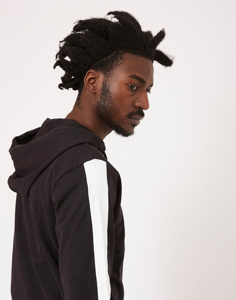 The Idle Man - Contrast Tape Zip Through Hoodie Black