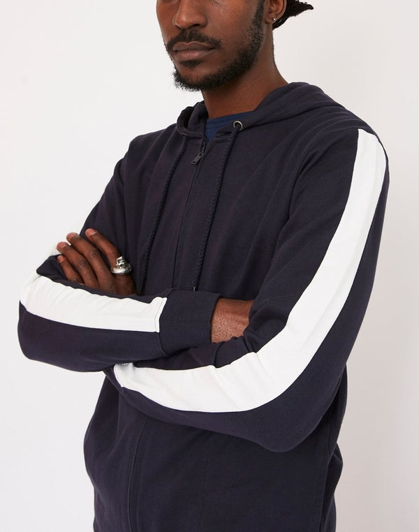 The Idle Man - Contrast Tape Zip Through Hoodie Navy