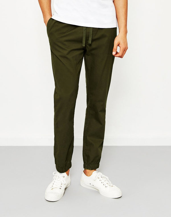 The Idle Man - Cotton Elasticated Cuff Trouser Green