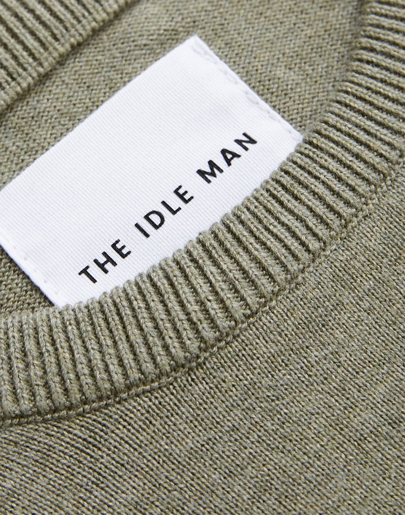 The Idle Man - Crew Neck Knitted Jumper Green