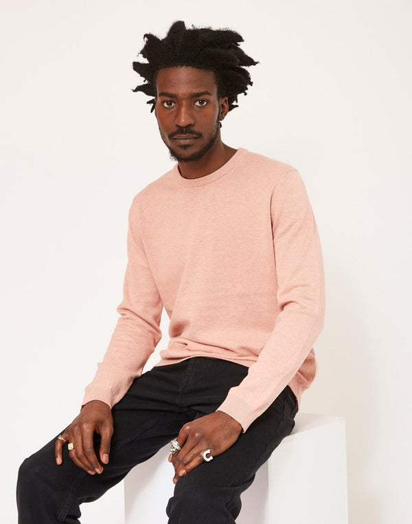 The Idle Man - Crew Neck Knitted Jumper Pink