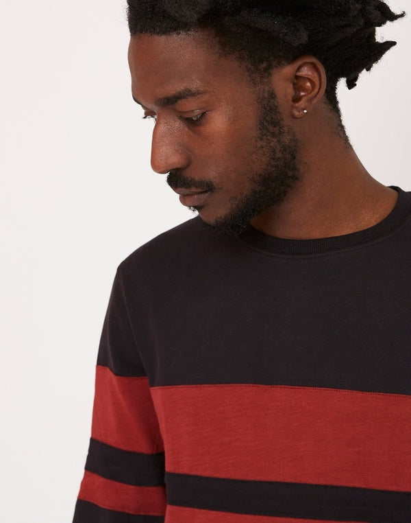 The Idle Man - Cut & Sew Stripe Sweatshirt Black