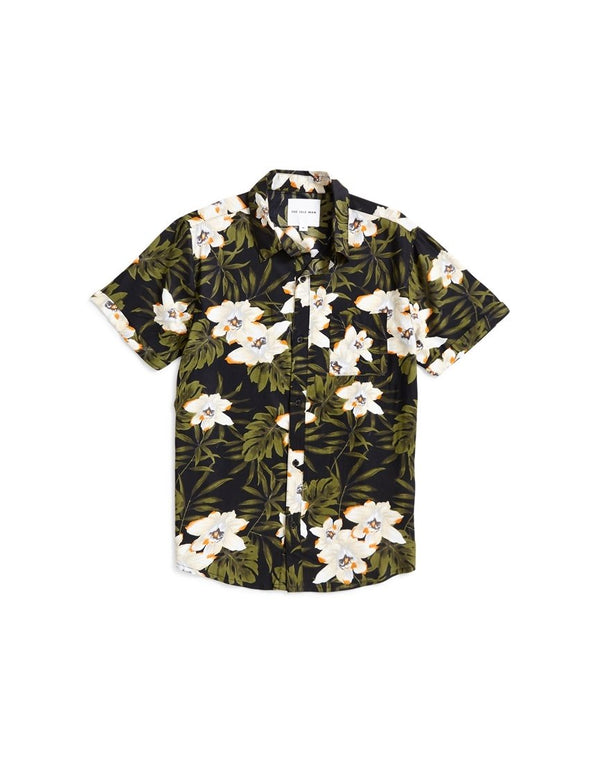 The Idle Man - Dark Floral Shirt Black