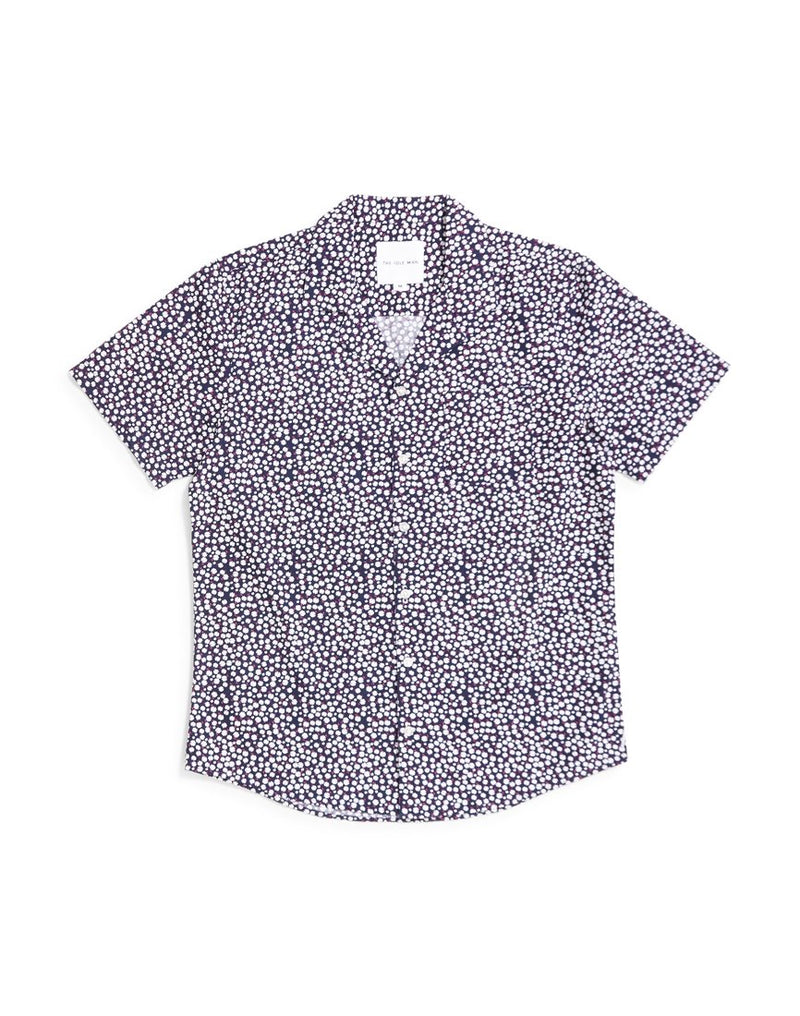 The Idle Man - Ditsy Floral Revere Collar Shirt Black