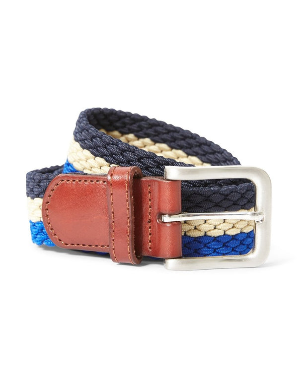 The Idle Man - Elastic Weave Belt Blue Stone & Navy