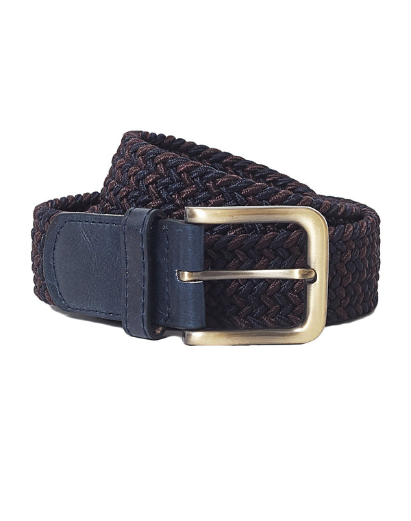 The Idle Man - Elastic Weave Belt Burgundy & Navy