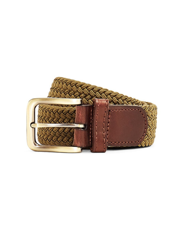The Idle Man - Elastic Weave Belt Green