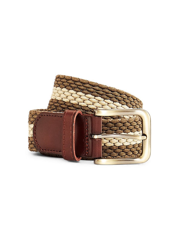 The Idle Man - Elastic Weave Belt Green & Stone