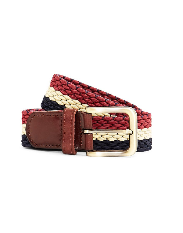 The Idle Man - Elastic Weave Belt Navy Stone & Burgundy
