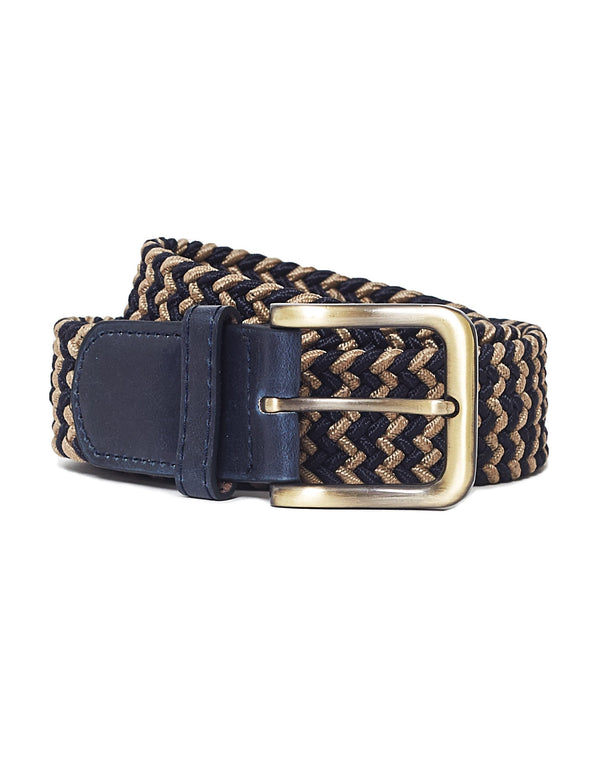 The Idle Man - Elastic Weave Belt Tan & Navy