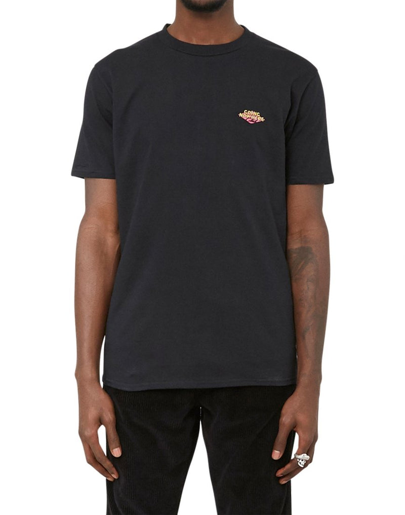 The Idle Man - Embroidered Going Nowhere Club T-Shirt Black