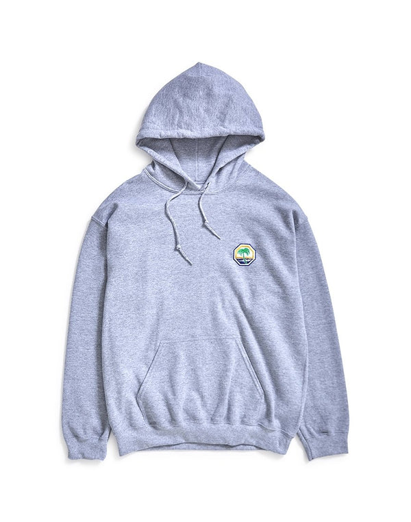 The Idle Man - Embroidered Palm Beach Overhead Hoodie Grey