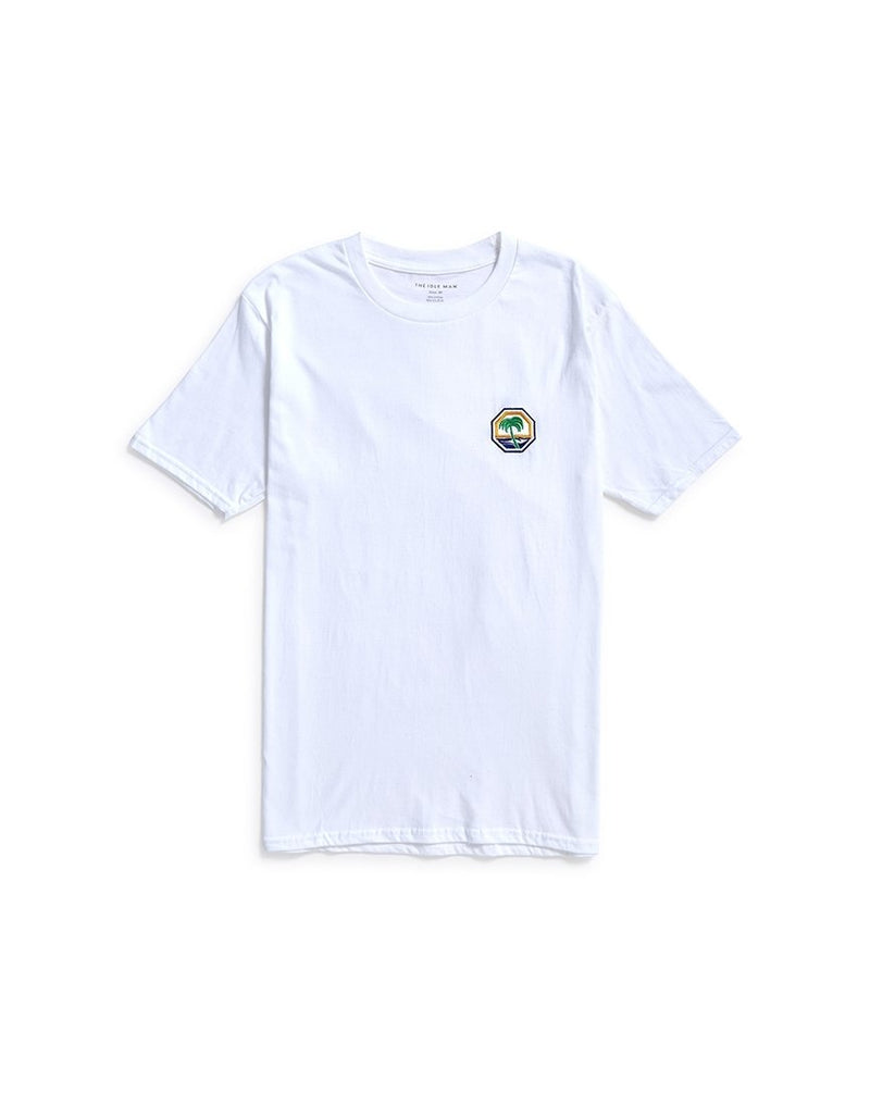 The Idle Man - Embroidered Palm Beach T-shirt White