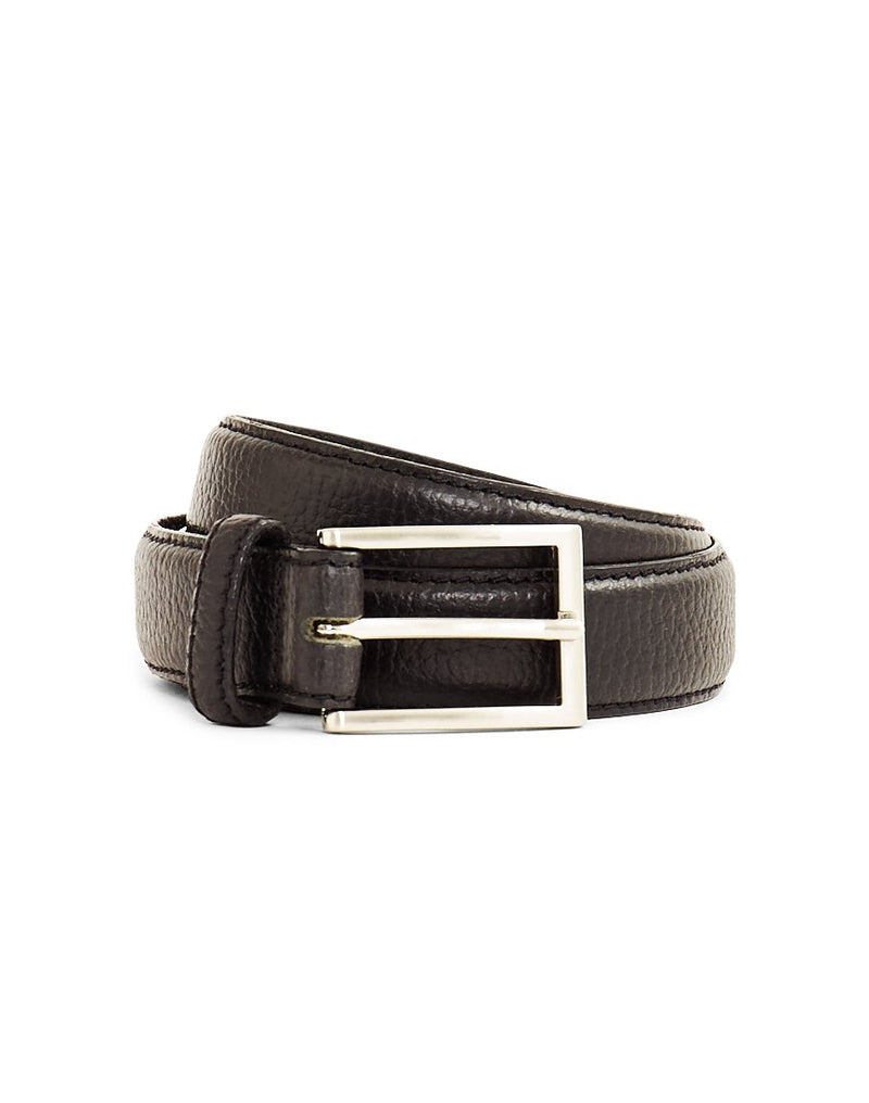 The Idle Man - Full Grain Leather Stitched Belt Black