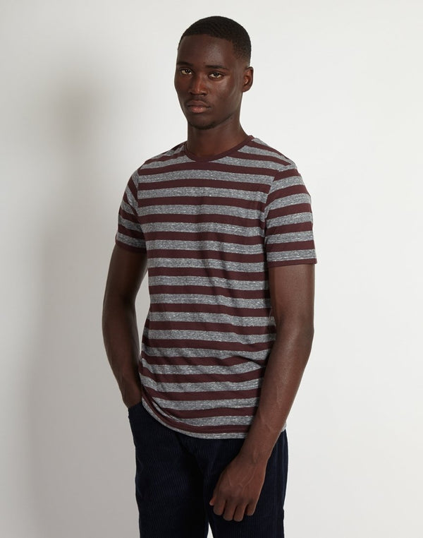 The Idle Man - Fitted Stripe T-Shirt Burgundy