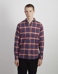 The Idle Man -Flannel Check Shirt Navy & Burgundy