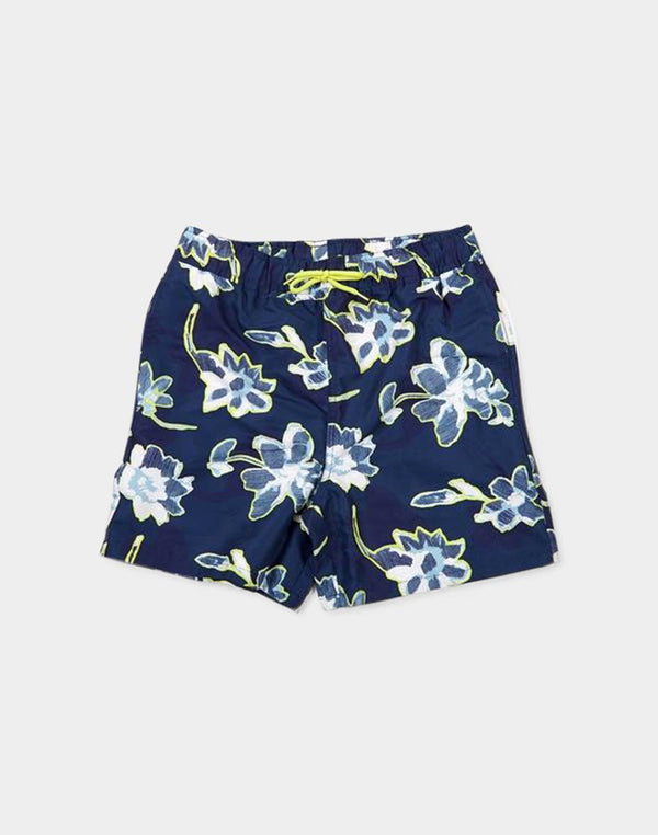 The Idle Man - Floral Print Swimshort Navy