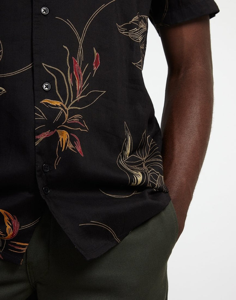 The Idle Man - Floral Viscose Shirt Black