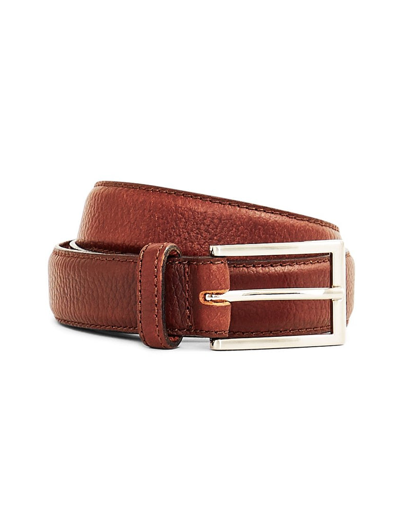The Idle Man - Full Grain Leather Stitched Belt Brown