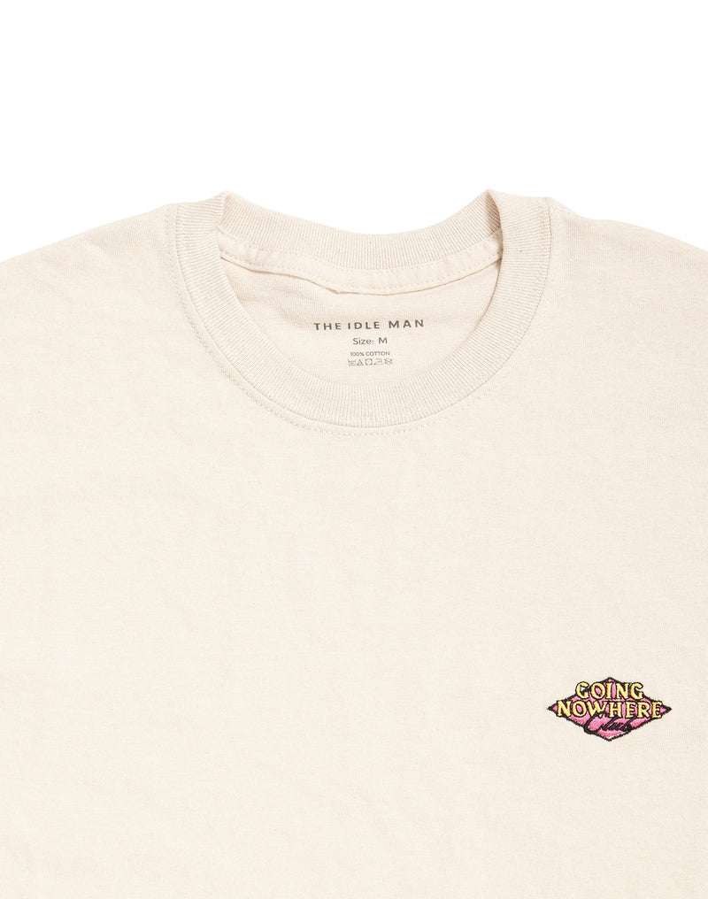 The Idle Man - Going Nowhere Club Diamond Embroidered T-Shirt Stone