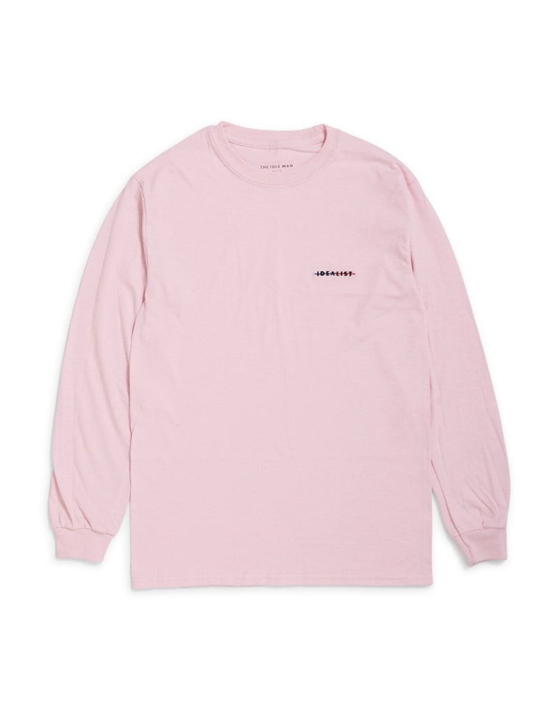 The Idle Man - Idealist Strikethrough Embroidered Long Sleeve T-Shirt Pink