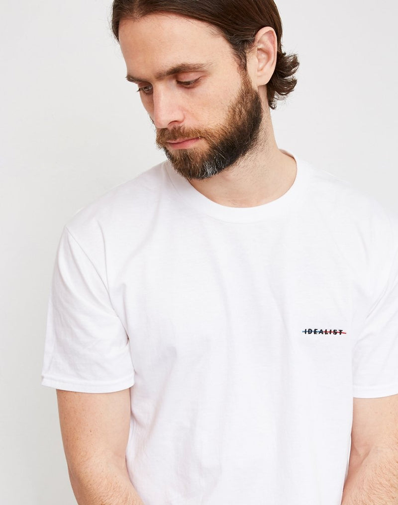 The Idle Man - Idealist Strikethrough Embroidered T-Shirt White