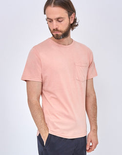 The Idle Man - Indigo Dyed Boxy Pocket T-Shirt Pink