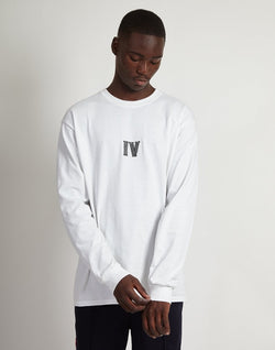 The Idle Man - IV Embroidered LS T-Shirt White