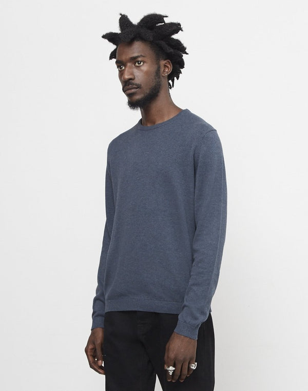 The Idle Man - Knitted Crew Neck Jumper Navy