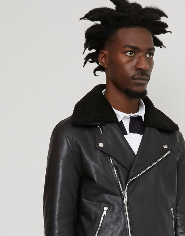 The Idle Man - Leather Borg Biker Jacket Black