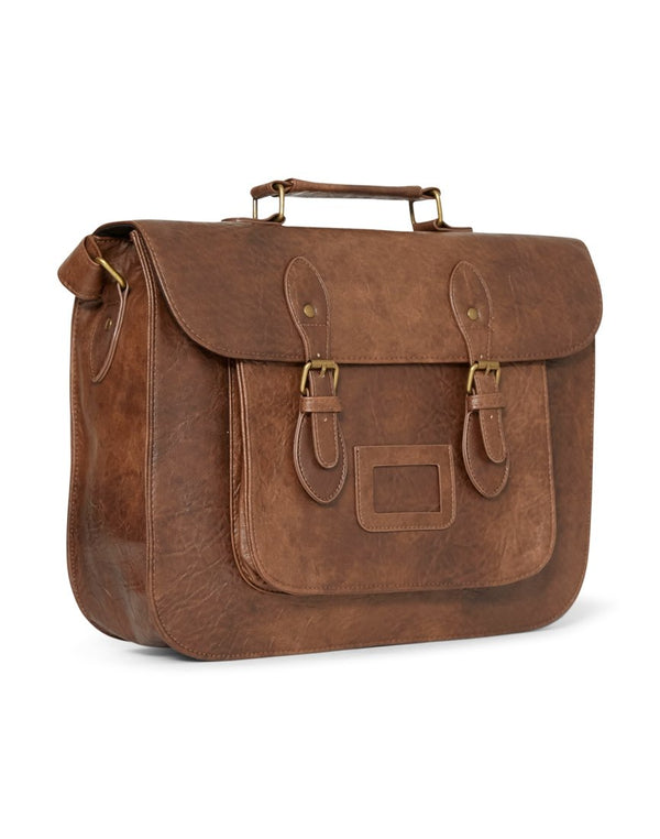 The Idle Man - Leather Look Satchel Tan