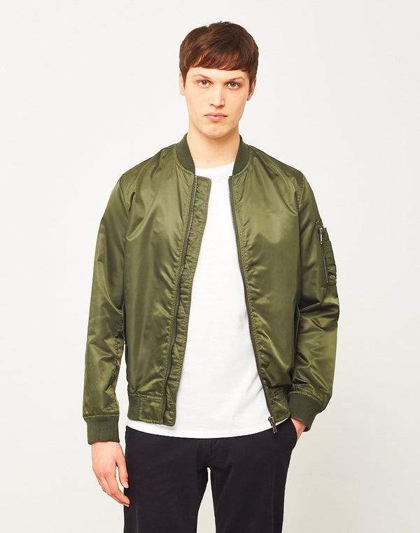 The Idle Man - Lightweight Nylon MA-1 Bomber Jacket Green