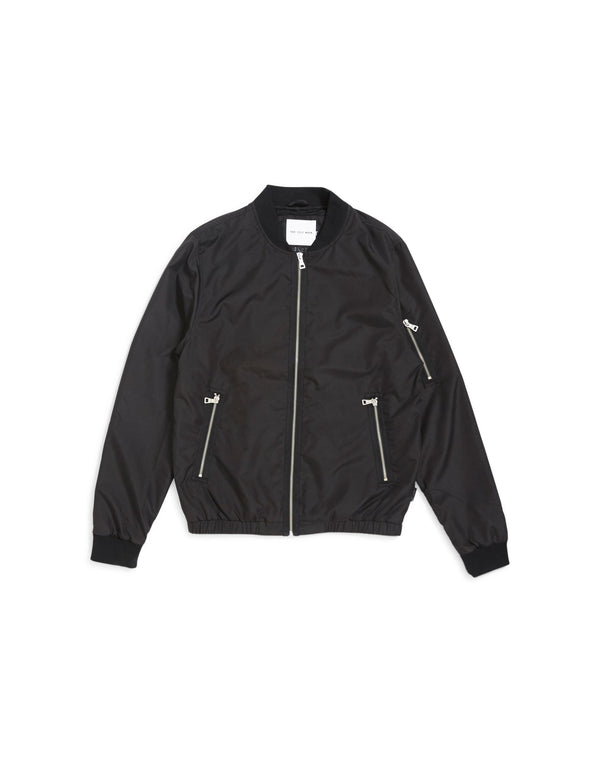 The Idle Man - Lightweight Zip Bomber Jacket Black