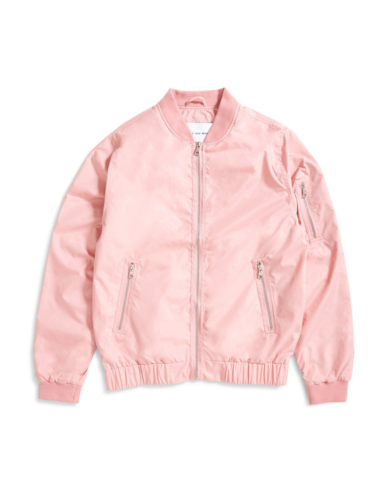 The Idle Man - Lightweight Zip Bomber Jacket Pink