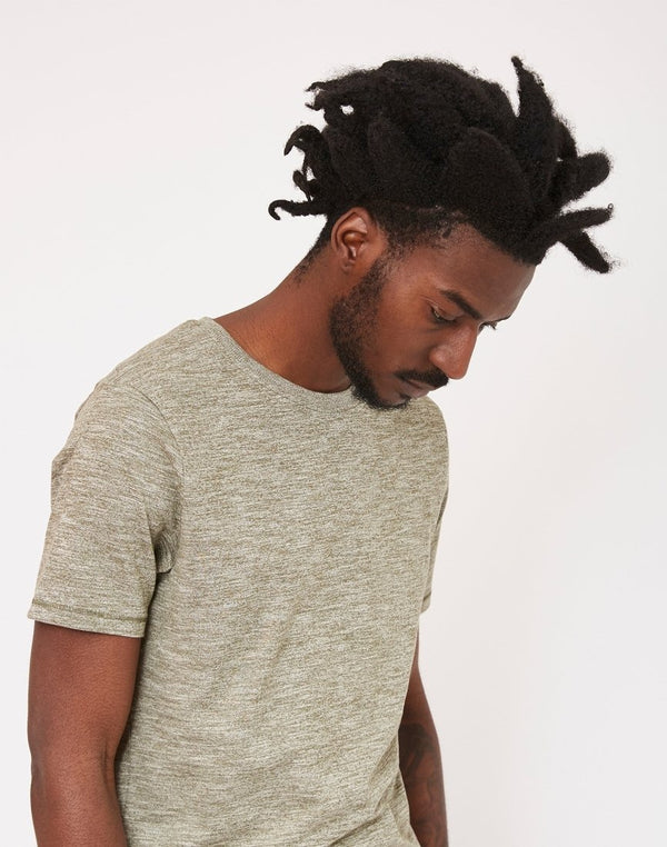 The Idle Man - Melange Slim T-Shirt Green