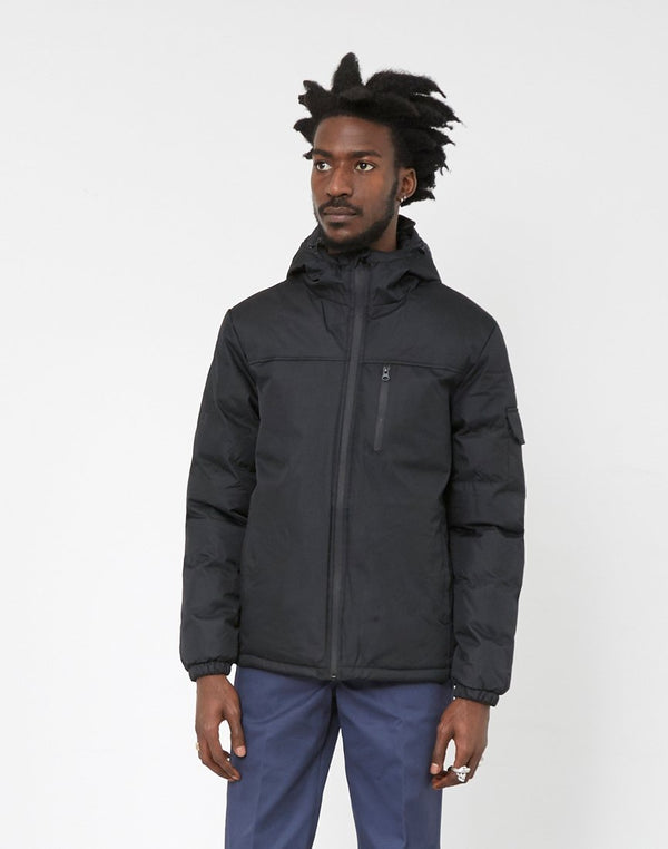 The Idle Man - Panelled Puffer Jacket Black