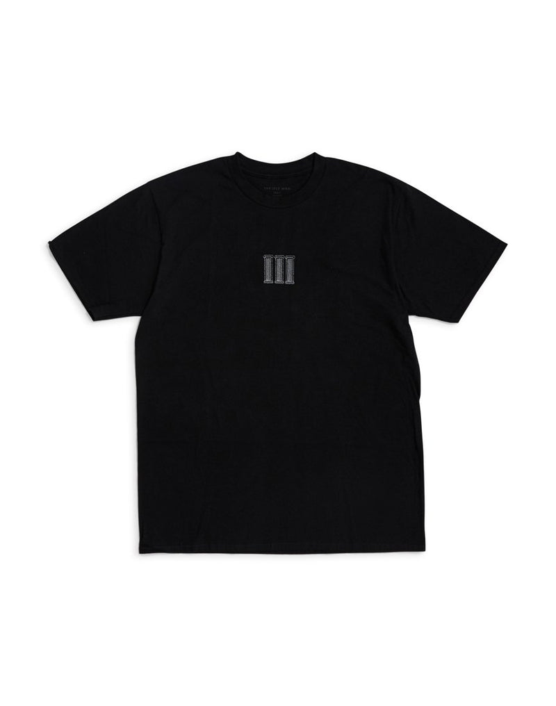 The Idle Man - Pillars Embroidered T-Shirt Black