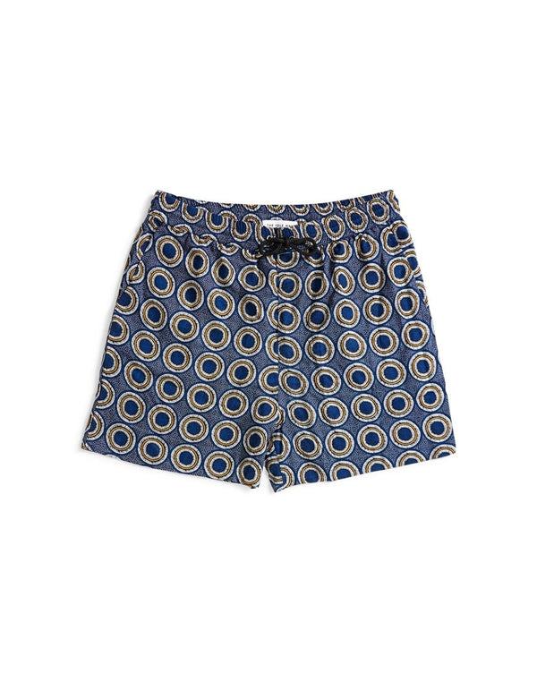 The Idle Man - Printed Drawstring Short Navy