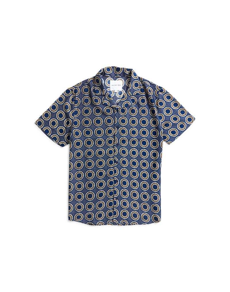 The Idle Man - Printed Revere Collar Shirt Navy