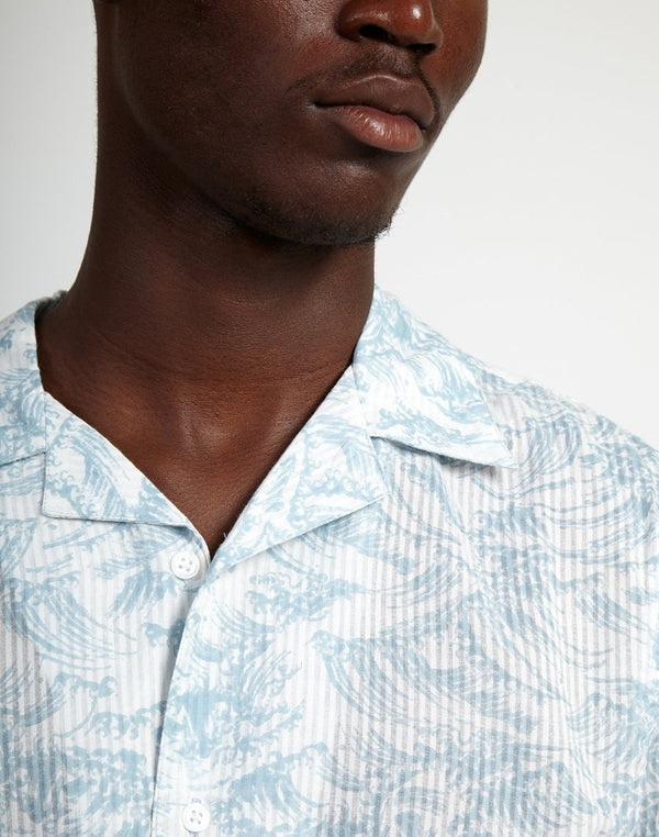 The Idle Man - Printed Waves Shirt White & Blue
