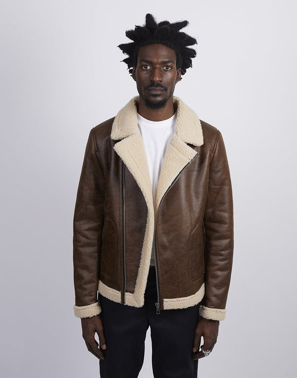 The Idle Man - Faux Leather Aviator Jacket Brown