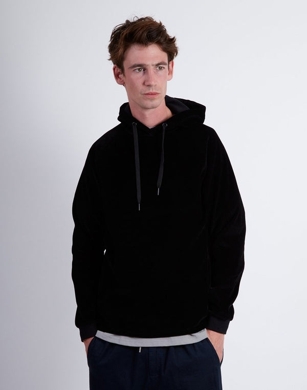 The Idle Man - Raglan Cord Hoodie Black