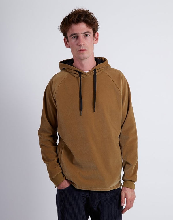 The Idle Man - Raglan Cord Hoodie Brown