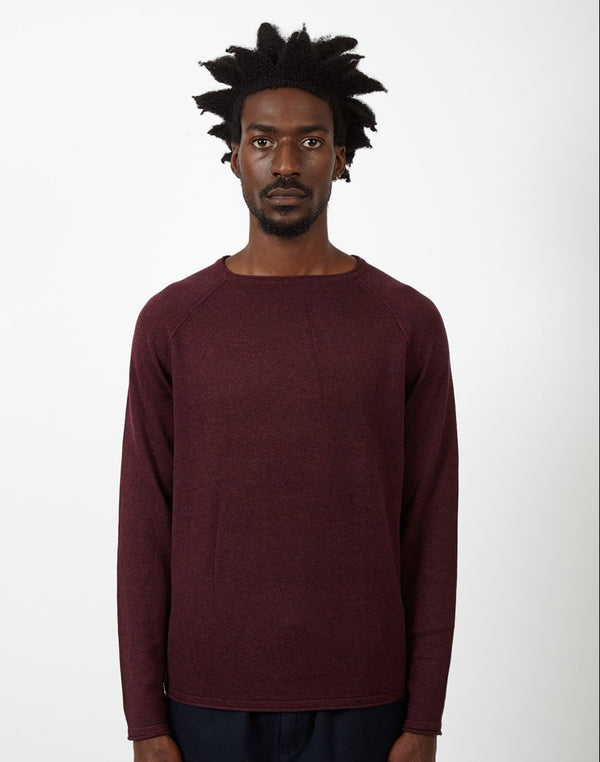 The Idle Man - Raglan Crew Neck Knitted Jumper Burgundy