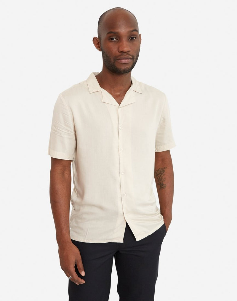 The Idle Man - Revere Collar Shirt Stone