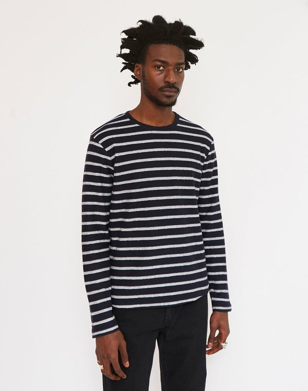 The Idle Man - Reverse Loopback Breton Stripe T-Shirt Navy